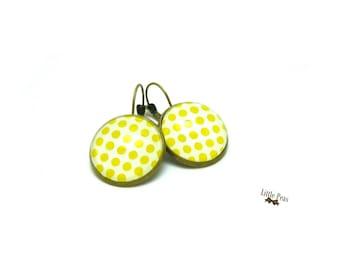 Sunshine yellow vintage glass dome earrings