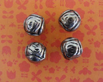 Set of 4 beads 8mm hole 3mm diameter silver metal