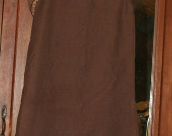 Brown linen and wax Senegalese dress