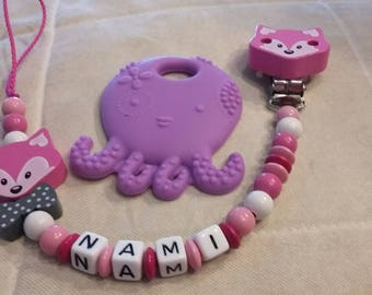 Octopus Silicone Pink Fox pacifier