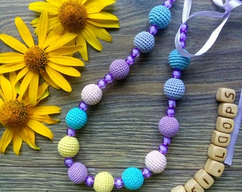Wooden jewelry - Stylish necklace - Crocheted jewelry - Perfect gift - Accessory for women and girls