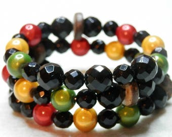 Rasta colored glass beads and Onyx bracelet