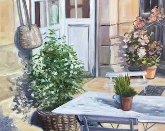 Painting, oil, canvas, impressionist, terrace , castle, France