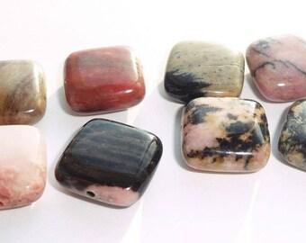 4 square stone beads fine stone rhodonite 10 x 10