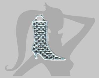Charm - Pendant boot 29 x 22 mm silver metal