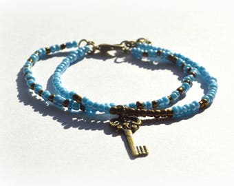 Bracelet seed beads Color Turquoise and copper
