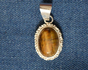 """""""Tiger eye"""" stacked stone Silver Pendant"""