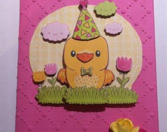 Card 3 D Happy Easter, kawaii duckling