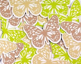 Embellishments - Die cuts butterflies, green and beige - grey 48 x 36 mm - 24 pcs - Toga - new
