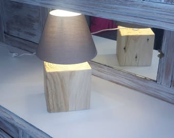 Upcycled wooden lamp ' sold with lampshades.