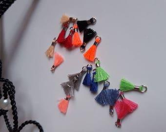 10 x mini pom poms 10 colors LOTar4 silver pendants