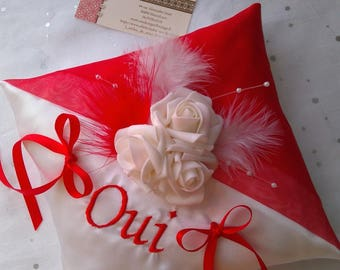 Red door White Satin and organza wedding pillow