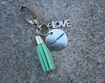"Keychain Locket grigri ""thank you MOM"" with LOVE charm and Mint green tassel"
