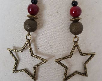 Red Jasper and black onyx bead bronze hook earrings