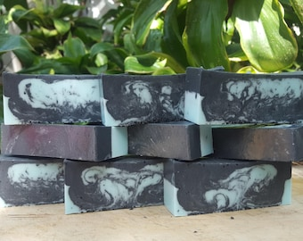 Wildberry and activated charcoal soaps