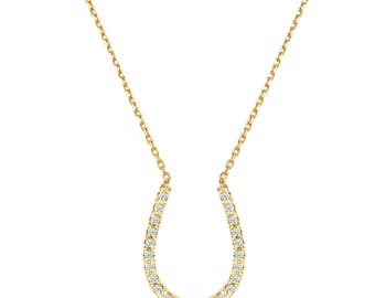 Horseshoe Pendant Brocaded Diamonds, 14K - 18K Gold + 0.12 Ct Diamonds