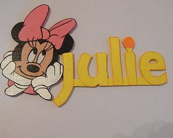 Name wooden painted decor Minnie
