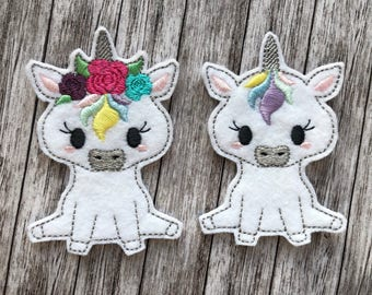 Unicorn Finger Puppets - Flower Crown, Bows, Pretend Play, Quiet Play, Party Favour, Felt toy, machine embroidered