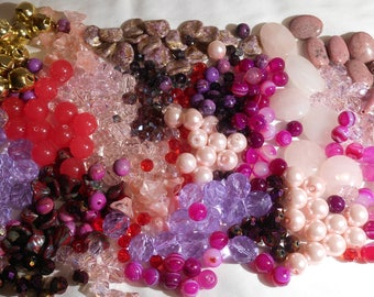 Beads- Mixed Lot 13 oz Stone, Glass, and Crystal