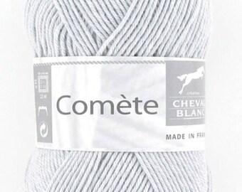 Laine à tricoter fantaisie COMETE coloris perle 071 de Cheval blanc
