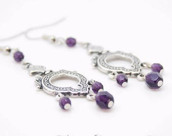 Earrings Medieval Victorian Velvet Purple