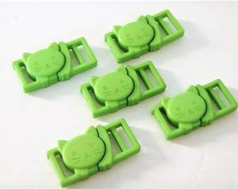 """5 Lime Green Cat Collar Buckles - 3/8"""" Cat Head Breakaway Buckles - Cat Collar Parts"""