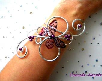 Butterfly purple Steve aluminium bead 3D wedding bridal bracelet