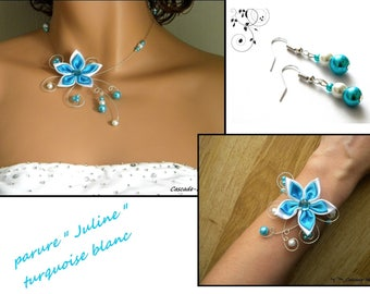 Bridal flower JULINE turquoise Silver White Pearl bridal set