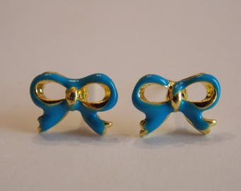 Pair of stud earrings modern enamelware Blue Gold bowtie