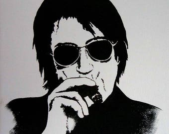 Acrylic paint in black and white - Jacques Dutronc