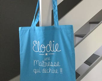 Tote bag, tote bag any personalized name teacher school gift