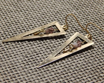 Pair of triangle shape gold metal and beads