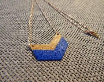 Chevron Royal Blue and gold leather pieces and gold necklace
