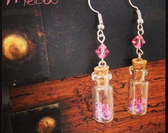 """Earring """"Vials BB"""" in pink and purple tones"""
