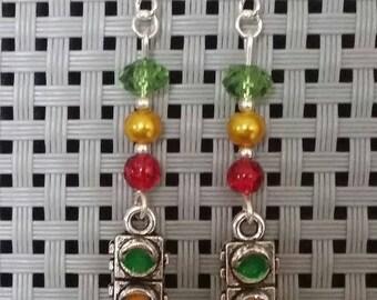 """Earrings """"Traffic light"""" 5.5 cm"""