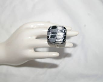 Square black and grey tones of polymer clay mosaic ring