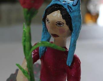 Papier mâché sculpture * girl with rose *.