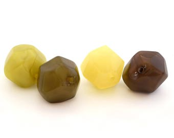 4 glass beads, yellow, Brown, green and khaki polygons 2cm in