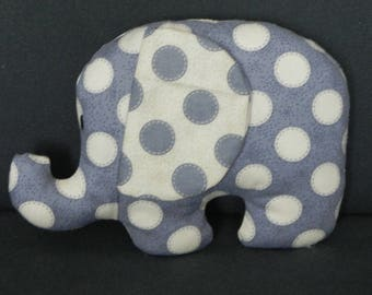little blue elephant with beige polka dots for soft hugs