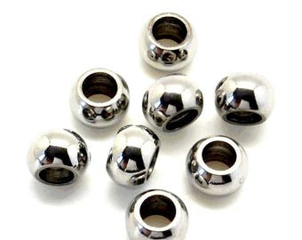Metal Stainless Steel 304 rondelle (10mm) - for leather (hole 5mm) round - silver - PPRDSSTCR517AG0786