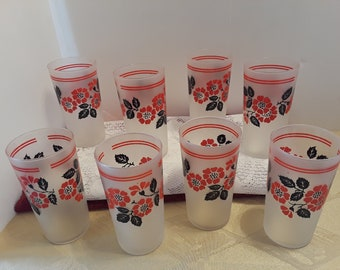 Hall Red Poppy Radiance, 12 Oz Frosted Glassware Tumbler Set, Vintage