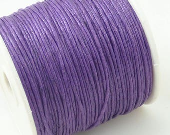 5 m of 1 mm purple waxed cotton cord