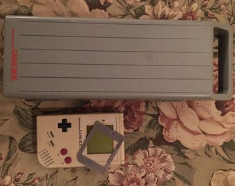 Nintendo GameBoy Hard Plastic Gray Carry Case & Original GB AS-IS Unit Handheld