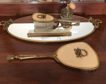 Vintage Ornate Dresser Mirror Set