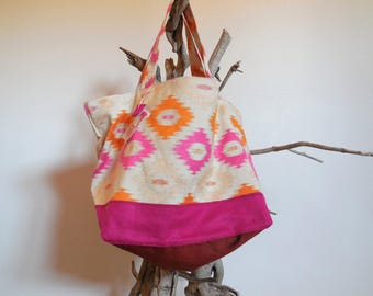 Tote bag chic, pink and orange recycled textile