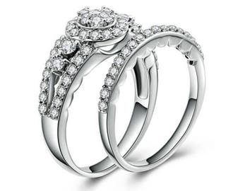 2Pc .925 Sterling Silver CZ Wedding Engagement Rings Set Women's Size 4-10 Ss1938