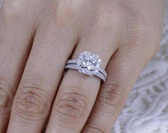 925 Sterling Silver CZ Wedding Band Engagement Rings Set Size 3-12 Ss059