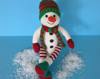 In Loving hand-sewn snowman//gift for children//Christmas gift//sock doll//Biostofftier//Children Gift