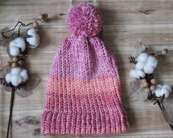 Pink Ombre Knit Slouchy Beanie, knit hat, slouchy hat, beanie, slouchy beanie, knit beanie, knitted hat, crochet hat, loom hat, pompom hat