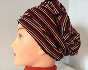 Navy Blue Jersey hat with multicolored stripes